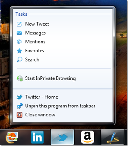 Twitter pinned to the taskbar